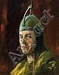 Adolf Behrmann 1876-1942 (German) Self Portrait with Iron Helmet, 1936 oil on board