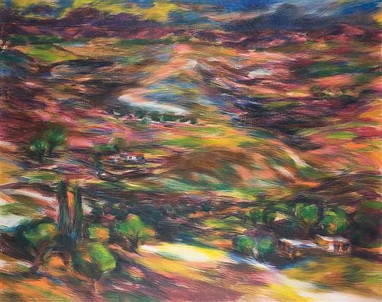 Shaul Schatz b.1944 (Israeli) Jerusalem landscape, 1970s oil on canvas mounted on masonite