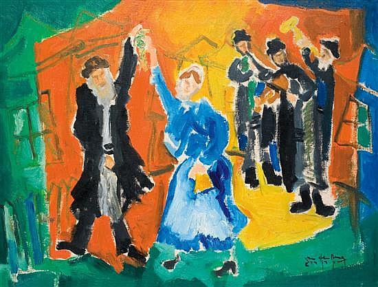 Shlomo Van Den Berg 1920-1982 (Israeli) Wedding oil on canvas