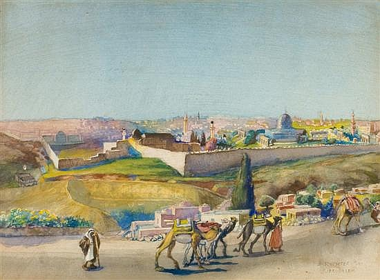 Anna Rychter - May 1865-1955 (German, Israeli) Jerusalem watercolor on paper