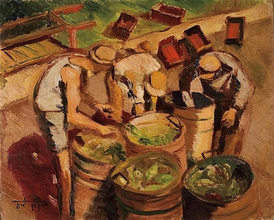Shlomo Van Den Berg 1920-1982 (Israeli) Daily laborers oil on masonite mounted on board