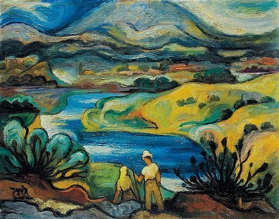 Shmuel Schlesinger 1896-1986 (Israeli) Couple sitting by Lake Kinereth, 1940s oil on canvas