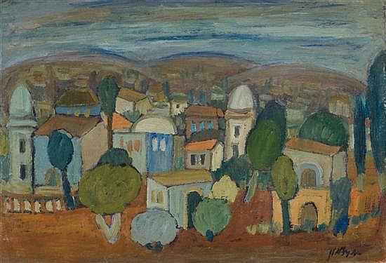 Avraham Azmon 1916 - 2008 (Israeli) Landscape oil on paper mounted on board