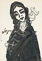 Moshe Bernstein 1920-2006 (Israeli) Portrait of a girl ink on paper, Moshe Bernstein, Click for value