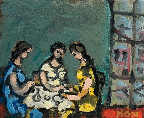 Yaacov Wexler 1912-1995 (Israeli) Women sitting around a table oil on canvas