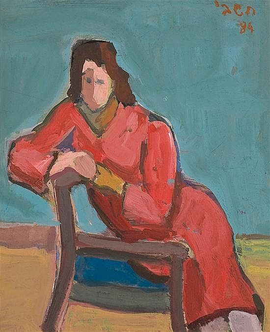 Michael Hashbi 1919-2002 (Israeli) Seated woman, 1984 oil on masonite
