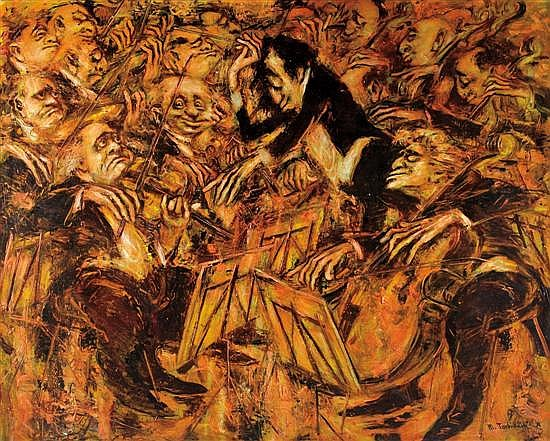 Mark Tochilkin b.1958 (Ukranian/ Israeli) Orcherstra oil on canvas