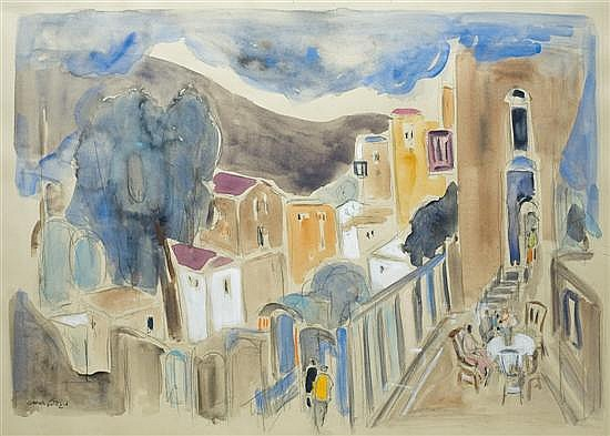 Micha Gdiel b. 1945 (Israeli) Safed watercolor on paper