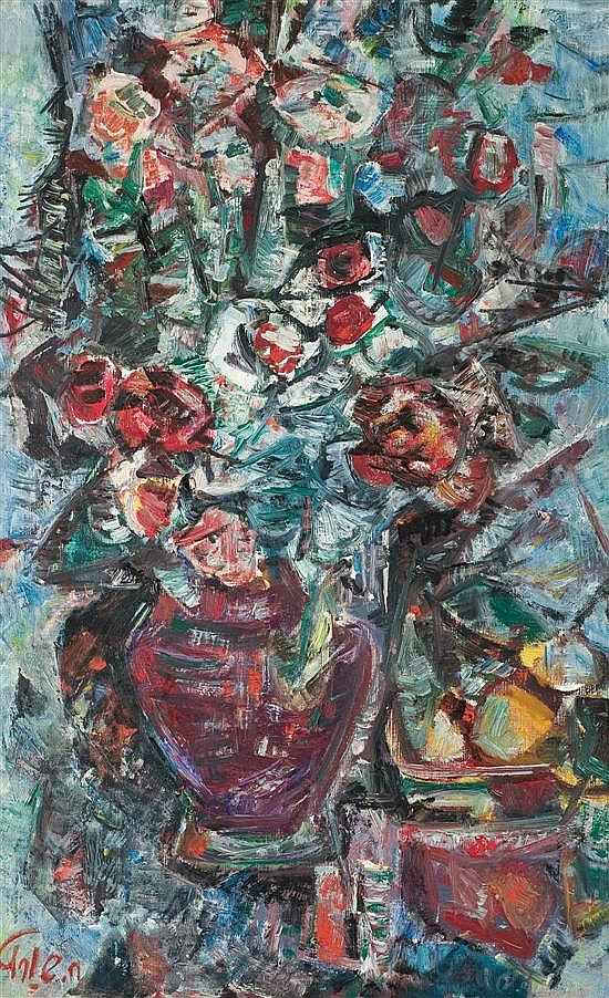 Chaya Schwartz 1912-2001 (Israeli) Flower bouquet oil on canvas