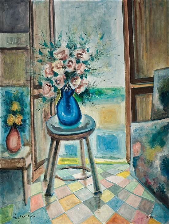 Albert Goldman b.1922 (Israeli) Flower pot on a stool oil on canvas