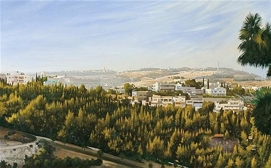 Itzchak Pressburger b. 1933 (Israeli) Jerusalem oil on canvas