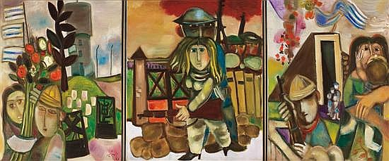 Leo Roth 1914-2002 (Israeli) Triptych oil on canvas