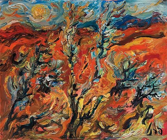 Yitzhak Frenkel Frenel 1899-1981 (Israeli) Trees in a summer landscape oil on canvas