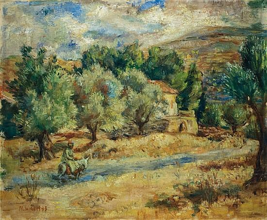 Sima Miron 1902-1999 (Russian/Israeli) On the road to Jerusalem (Ein Karem), 1943 oil on canvas