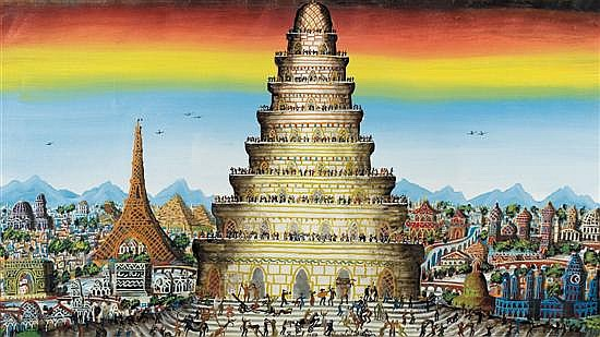 Gabriel Cohen b. 1933 (French, Israeli) The tower of Babel oil on canvas