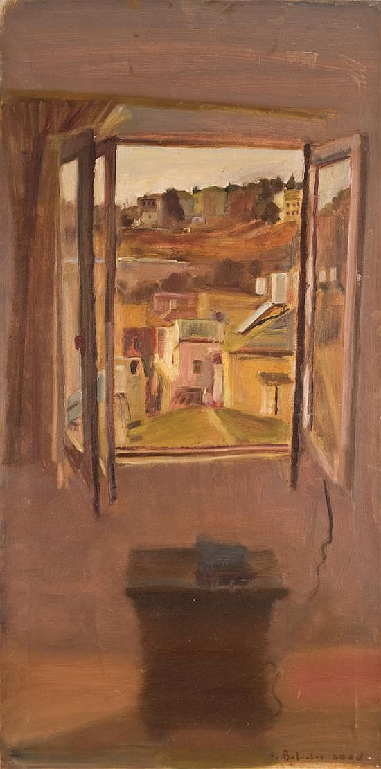 Leonid Balaklav b. 1956 (Israeli) The walls of the old city Jerusalem through window, 2000 oil on canvas