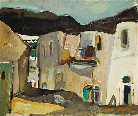 Moshe Rosenthalis b. 1922 (Israeli) Scene de rue oil on canvas