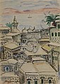 Elias Newman 1903-1999 (Israeli) Tiberias, 1920's charcoal and watercolor on paper, Elias Newman, Click for value