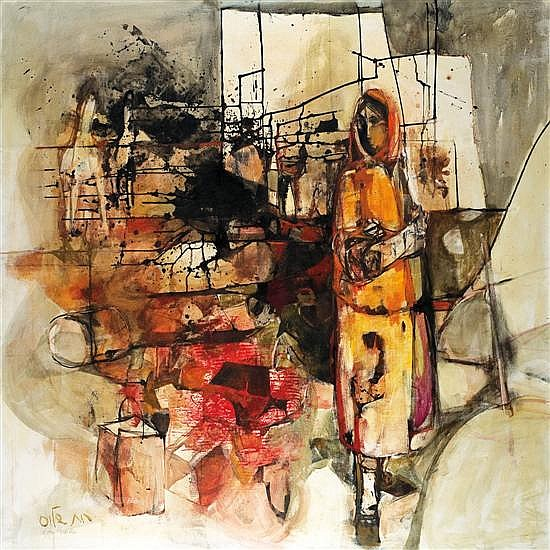 Ruth Schloss b.1922 (Israeli) Figure in Maabara (transit camp) oil on canvas