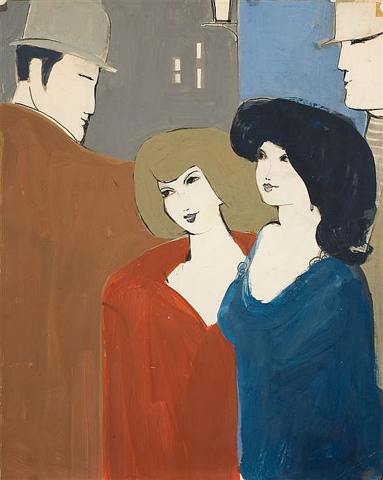 David Schneuer 1905-1988 (Israeli) Figures pencil and gouache on paper