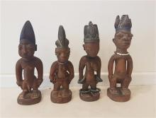 Ibeji figures, YORUBA, Nigeria, Lot includes 4 sculptures wood with pigments and beads