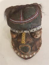 Mask, KUBA, Kongo (Zaire), 20th century wood and mixed media from nature (shell, copper, natural hair, beads)
