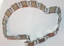 Silver link belt, signed