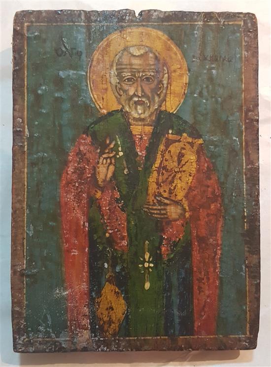 St. Nicholas, mid 20th century, Greek school tempera on wood
