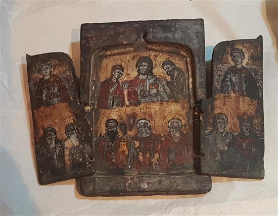 Greek school Deesis with Saints, icon tryptich, Late 19th c.; sizes when close: 26 X 18 cm; open 26 X 34 cm. Condition- Fair. Doors...