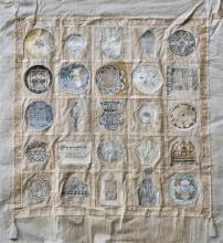 Sara Konforty b. 1946 (Israeli) Jewish symbols mixed media on fabric