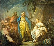 Antoine Renou 1731-1806 (French) Lavan searches for the idols, 1753 oil on paper mounted on canvas