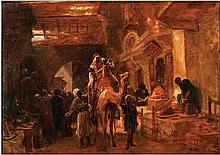 **Attributed to Rudolf Ernst 1854-1932 (Austrian) Middle Eastern market oil on paper mounted on canvas