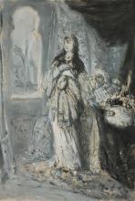 **Moritz Gottlieb 1856-1879 (Polish) Sketch of Reha oil on canvas mounted on panel