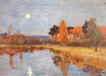 Isaak Il'ich Levitan 1860-1900 (Russian) Twilight over a forest and a lake oil on canvas