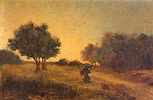 Attributed to Jean Baptiste Camille Corot 1796-1875 (French) Woman carrying twigs in late afternoon summer landscape oil on canvas