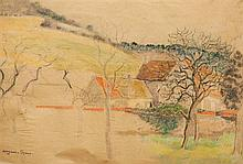 Georges Manzana-Pissarro 1871-1961 (French) Landscape pastel crayons on paper