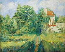 **Georges Manzana-Pissarro 1871-1961 (French) Landscape at the outskirts of Eragny, c. 1950 oil on canvas