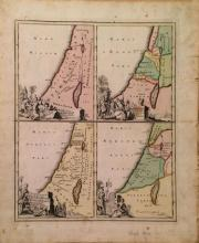 Adrian Reland from J.D. Kohler Antique map - Four different maps of the Holy Land on one sheet. From: Descriptio orbis antiqvi, Nur...