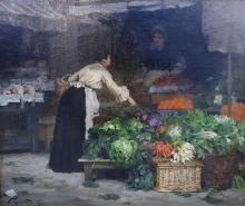 **Victor Gabriel Gilbert 1847-1935 (French) Market scene, 1877 oil on canvas