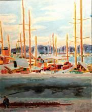 **Jean Jules Louis Cavailles 1901-1977 (French) Port of Saint-Tropez oil on canvas