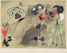 Joan Miro 1893-1983 (Spanish) Composition sur fond vert, 1950 color lithograph