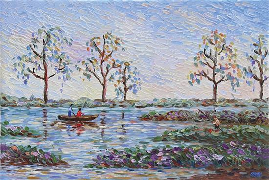 Naomi Sasi b.1992 (Israeli) River landscape oil on canvas