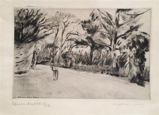 Lיopold Levy 1882-1966 (French) Man in the grove etching