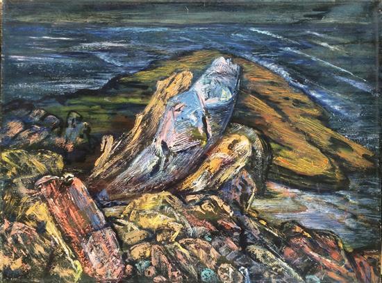 Greta Wolf Krakauer 1890-1970 (Austrian, Israeli) Rosh Hanikrah, 1960 oil on canvas
