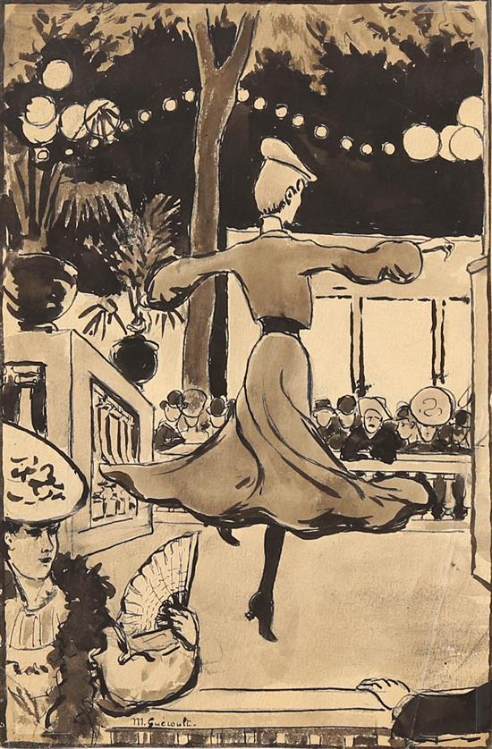 Maurice Gueroult 1875-20th century (French) Sur scene. Etude l'une danseuse ink and wash on paper