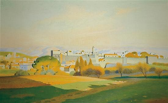 ** Shmuel Charuvi 1897-1965 (Israeli) Jerusalem Citadel, 1940s oil on canvas