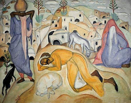 Reuven Rubin 1893-1974 (Israeli) The village of Sumeil, 1923 signed and dated lower left