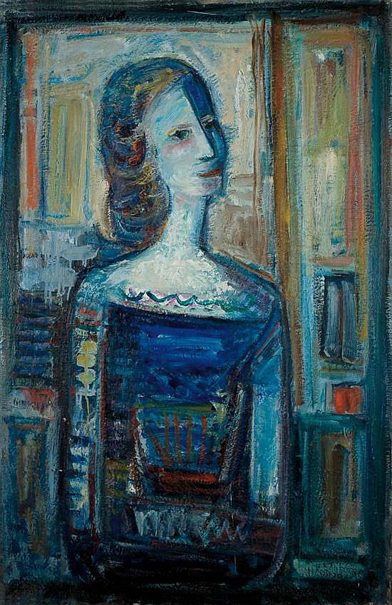 Pinchas Abramovich 1909-1986 (Israeli) Artist's wife oil on canvas