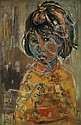 ** Ruth Schloss b. 1922 (Israeli) Young girl oil on canvas, Ruth Schloss, Click for value