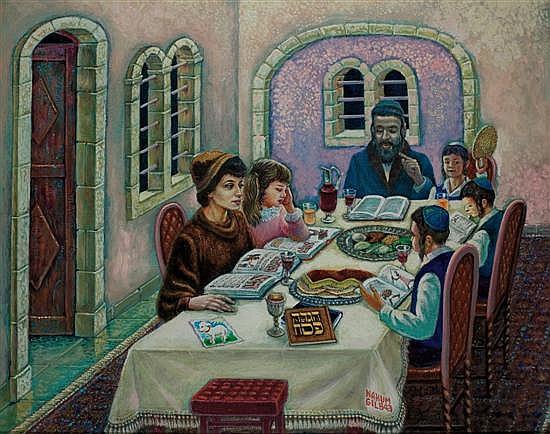 Nahum Gilboa b. 1917 (Israeli) Seder Pesach acrylic on canvas